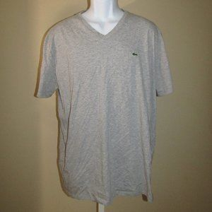 Lacoste T-Shirt Grey Short Sleeve Men XXL V NECK